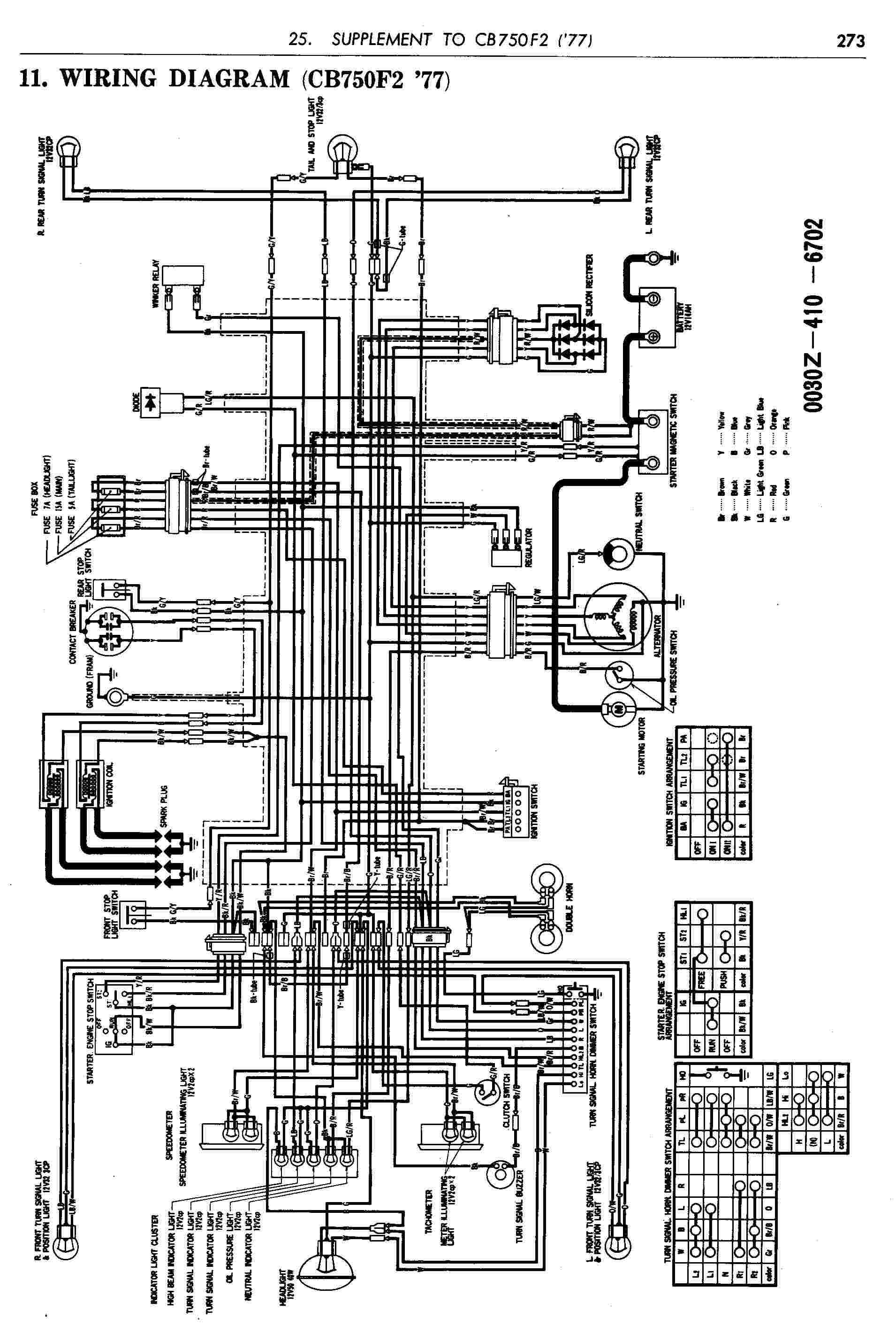 Honda motorcycle wiring diagrams cb f electrical